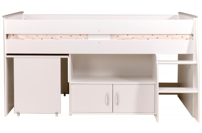 lit mezzanine blanc combin avec un bureau et rangements lit design pas cher. Black Bedroom Furniture Sets. Home Design Ideas