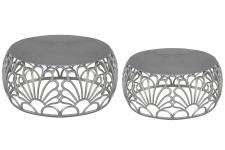 DeclikDeco - Lot de 2 tables basse Gris en Nickel FILEO - Nouveautes deco design
