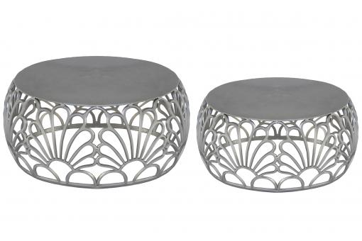 Lot de 2 tables basse Gris en Nickel FILEO - Table basse design