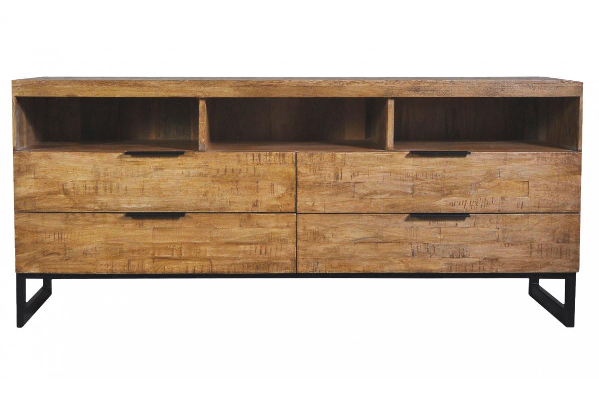 Table En Bois Chene Clair meuble tv en bois massif chêne clair avec 4 tiroirs et 3