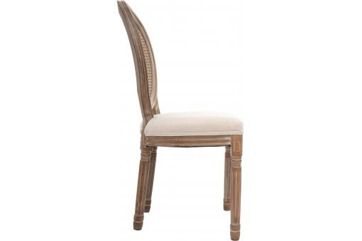 Chaise Cannage effet Lin CLEON Blanc