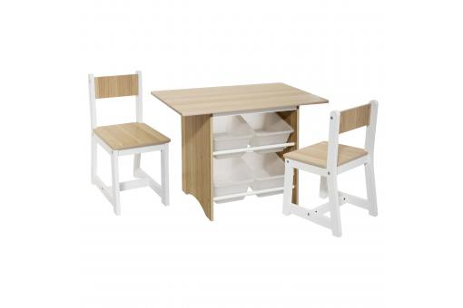 Table Bacs X4 + Chaise X2 - Chambre lit