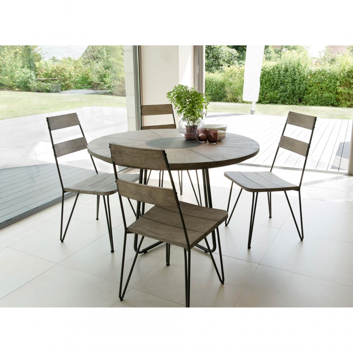 salon de jardin en bois teck grise 4 6 pers ensemble de jardin 1 table ronde diametre 120 cm et 4 chaises scandi pieds metal
