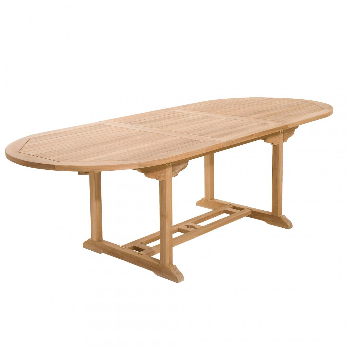table de jardin 8 10 personnes ovale extensible 180 240 100 cm en bois teck