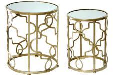 Table d'Appoint Set de 2 piédestals en métal doré, deco design