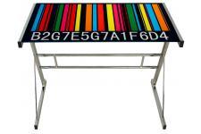 Table d'Appoint Table de bureau Code barre chromé, deco design