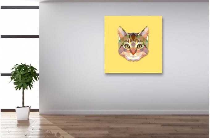 tableau animaux chat jaune 60x60 tableau voyage pas cher. Black Bedroom Furniture Sets. Home Design Ideas