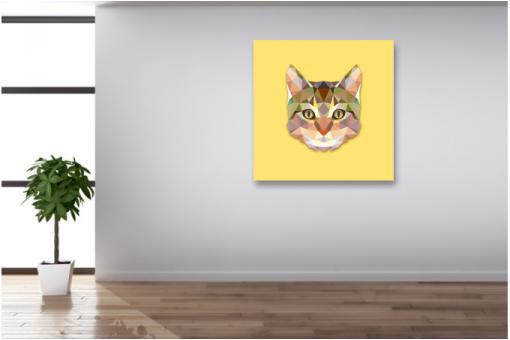 tableau animaux chat jaune 80x80 tableau voyage pas cher. Black Bedroom Furniture Sets. Home Design Ideas