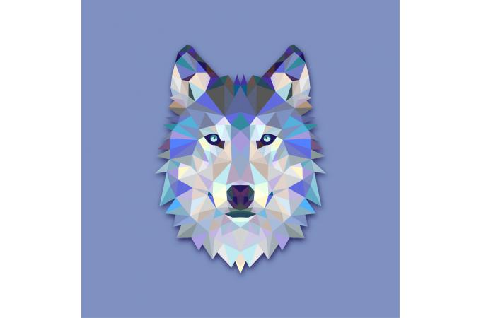 tableau animaux loup bleu 60x60 tableau animaux pas cher. Black Bedroom Furniture Sets. Home Design Ideas