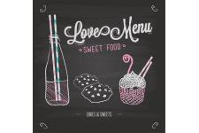 Tableau Gourmand Loves Menu 60X60 - Tableau citation