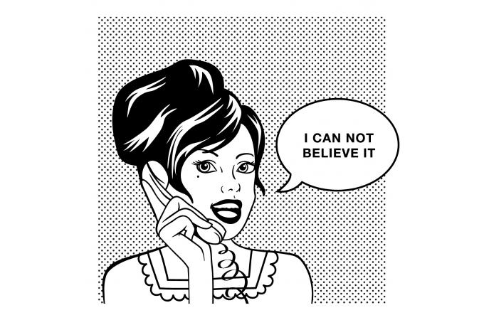 Declikdeco  Tableau Pop Art Femme Bulle I Can Not Belive It 80X80
