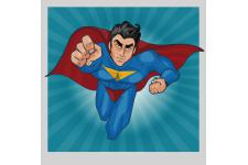 Tableau Pop Art Heros Superman 50X50 - Tableau design rouge