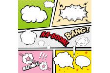 Tableau Pop Art Multicolore Kaboom Bang 60X60