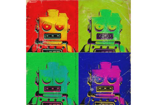 Tableau Pop Art Multicolore Robot 50X50