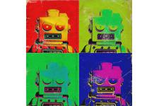 Tableau Pop Art Multicolore Robot 80X80