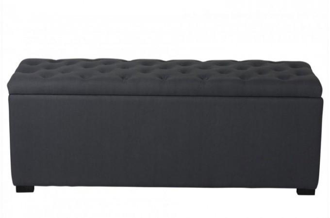 banquette coffre capitonn e en lin anthracite. Black Bedroom Furniture Sets. Home Design Ideas