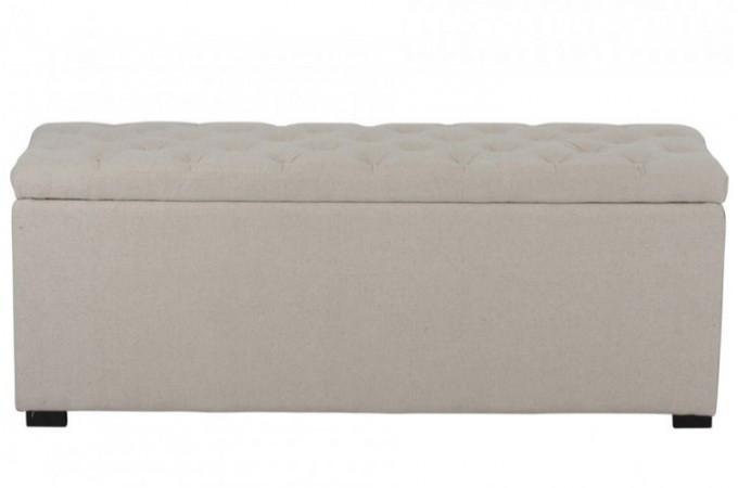 banquette coffre capitonn e en lin beige declikdeco. Black Bedroom Furniture Sets. Home Design Ideas