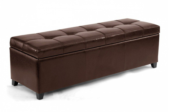 banquette coffre simili cuir marron 140 cm venise. Black Bedroom Furniture Sets. Home Design Ideas
