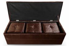 Banquette coffre en velours choco et ses 3 poufs encastrables, deco design