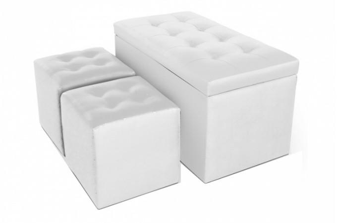 Banquette coffre et 2 poufs simili cuir blanc ath nes banquettes m ri - Pouf simili cuir blanc ...