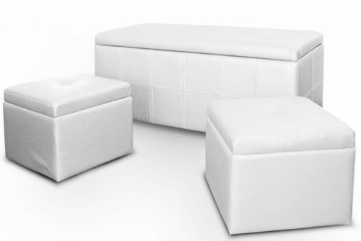 banquette coffre matelass e avec 2 poufs blanc encastrables. Black Bedroom Furniture Sets. Home Design Ideas