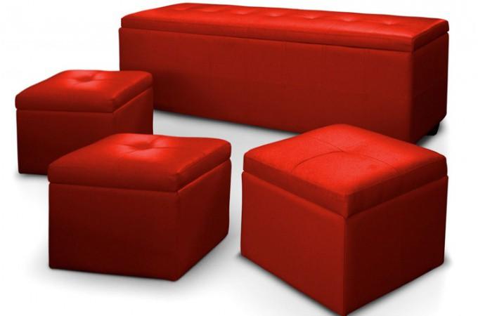 Banquette coffre matelass e 3 poufs rouge xl banquettes m ridiennes - Banquette coffre design ...