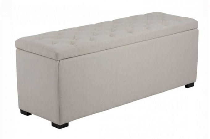 Banquette coffre capitonn lin beige ebay - Banquette coffre design ...
