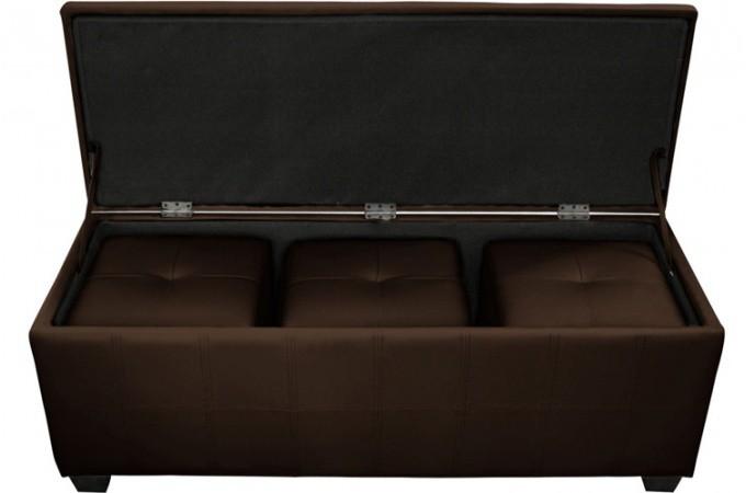 banquette coffre matelass e 3 poufs choco xl banquettes m ridiennes pas cher. Black Bedroom Furniture Sets. Home Design Ideas