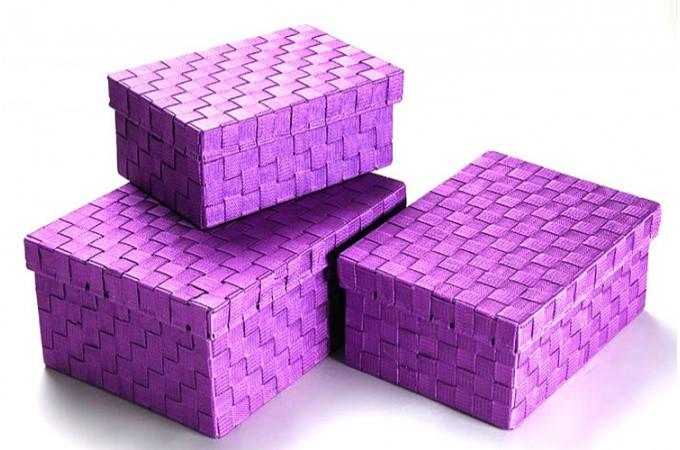 Lot de 3 boites de rangement nylon violet turando bo tes - Boites de rangement pas cher ...