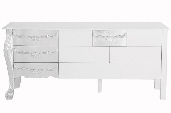 buffet baroque blanc laqu et argent buffet moderne declikdeco. Black Bedroom Furniture Sets. Home Design Ideas