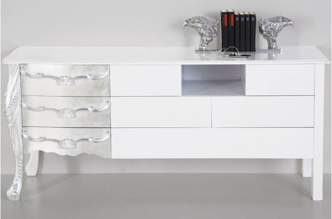buffet baroque blanc laqu et argent buffet moderne. Black Bedroom Furniture Sets. Home Design Ideas