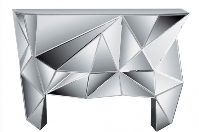 Console miroir kare design diamond deco design kare design for Miroir salon design pas cher