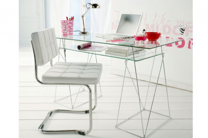 D coration table de bureau - Table d ordinateur en verre ...