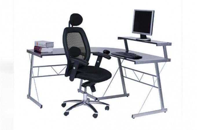 Bureau work en verre teint noir bureaux pas cher - Bureau en verre pas cher ...