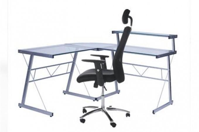 Bureau work en verre transparent bureaux pas cher - Bureau en verre pas cher ...