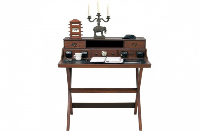 secr taire en bois style colonial colomb bureau pas cher. Black Bedroom Furniture Sets. Home Design Ideas