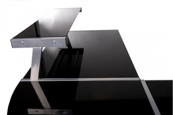 bureau work en verre teint noir bureaux pas cher. Black Bedroom Furniture Sets. Home Design Ideas