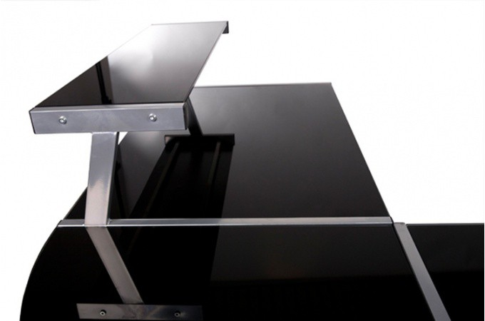 Bureau work en verre teint noir bureaux pas cher for Bureau en verre pas cher