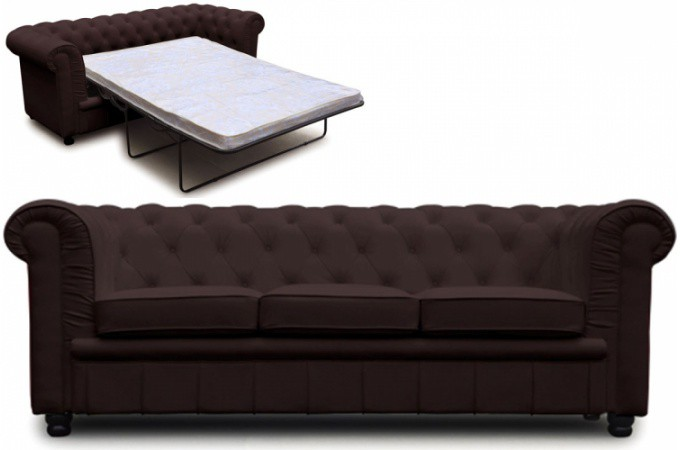 canap chesterfield choco convertible avec matelas. Black Bedroom Furniture Sets. Home Design Ideas