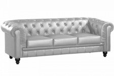 Canapé chesterfield imitation cuir argent capitonné 3 places - Canape 3 places design