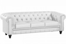 Canapé chesterfield imitation cuir blanc capitonné 3 places - Canape 3 places design