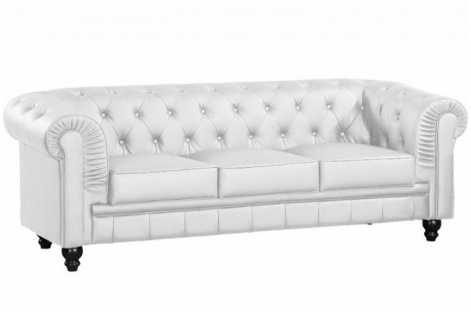 Canapé chesterfield simili blanc capitonné 3 places