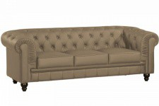 Canapé chesterfield imitation cuir taupe capitonné 3 places - Canape 3 places design