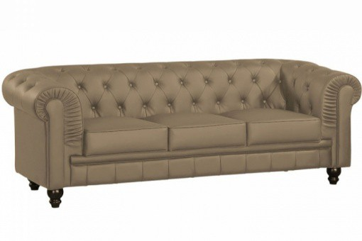 Canapé chesterfield simili taupe capitonné 3 places