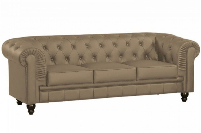 Canap Chesterfield Cuir Taupe Capitonn 3 Places
