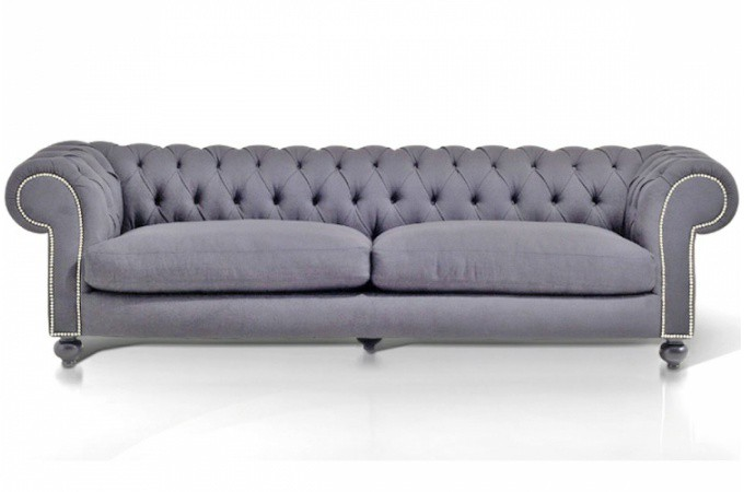 Canap chesterfield en velours capitonn gris collection fauteuil et canap - Chesterfield 3 places ...