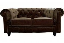 Canapé chesterfield velours capitonné choco 2 places - Canape 2 places design