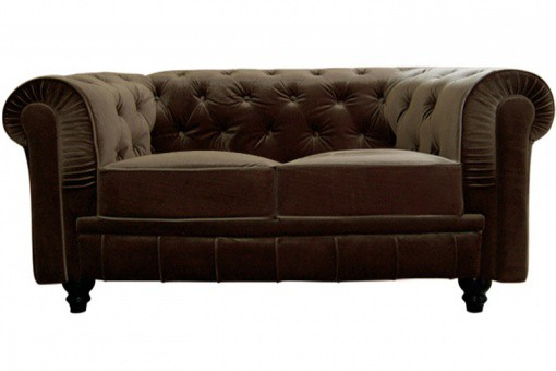 Canapé chesterfield velours capitonné choco 2 places