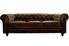 Canapé Chesterfield Velours Capitonné Choco 3 Places - Canape 3 places design