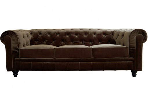 Canapé Chesterfield Velours Capitonné Choco 3 Places